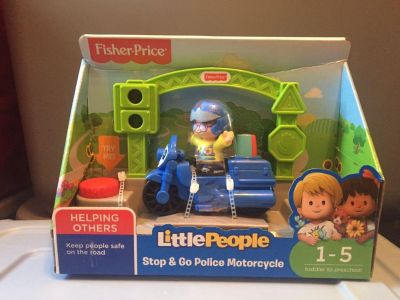 NIB Fisher Price Little People Stop and Go Police Motorcycle