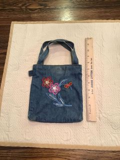 Cute denim with flowers and beads bag