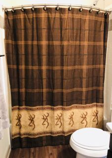 Browning Shower curtain with hooks