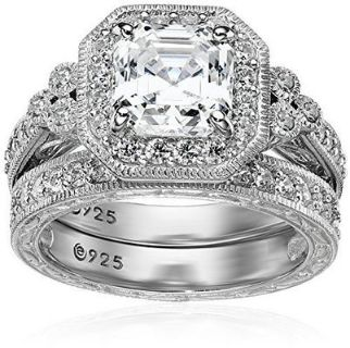 CLEARANCE ***NEW***POSITIVELY GORGEOUS Platinum Sterling Silver Asscher-Cut Zirconia Antique Set***