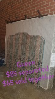 Queen box spring, adjustable frame, and headboard