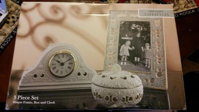 New / Almond / 3 Piece Clock / Picture Frame Set