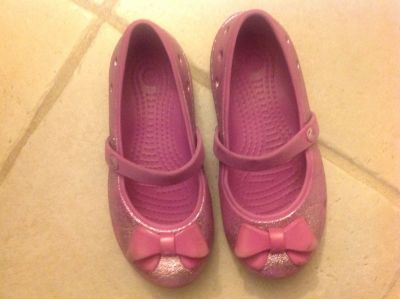 Pink Crocs with bow