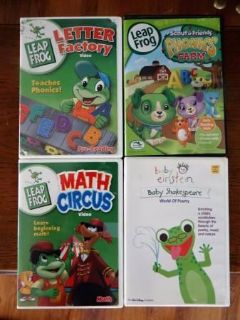 Leap Frog/Educational toddler DVD's, $10 for all 4