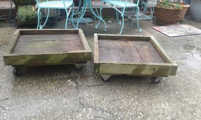 Heavy duty wooden rolling carts (2 available)
