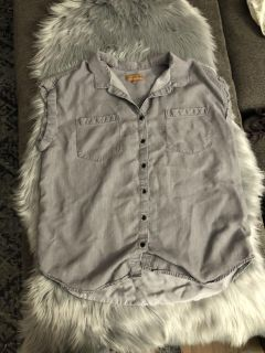 Grey Button Up Top with Rolled Short Sleeves