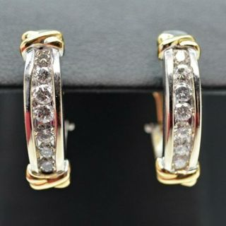 14K White & Yellow Gold Diamond Earrings