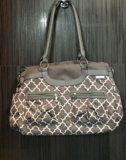 JJ Cole satchel diaper bag in grey and white. VGC