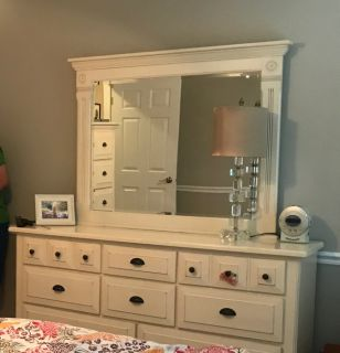Solid Wood White Dresser and Mirror