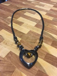 Hematite heart shaped necklace