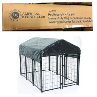 AKC Pet Resort 4ft x 6ft x 52in. High Heavy-duty Dog Kennel with Roof & Waterproof Cover for Porch & Patio with Free Training Guide