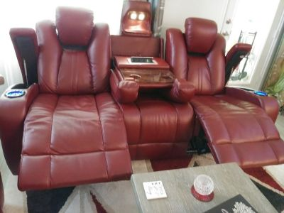 Red sofa with two recliners and more