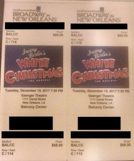 White Christmas - Broadway musical - Saenger Tue Dec 19 - 2 tickets in Balcony