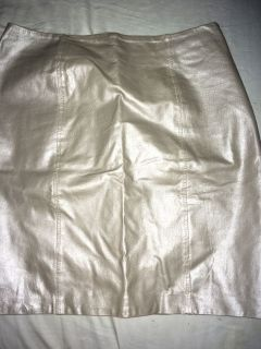 Silver Real Leather Skirt