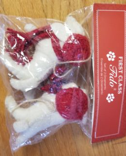 New in pkg. Set of two puppy Christmas ornaments each wearing scarf and hat. Smoke free home.