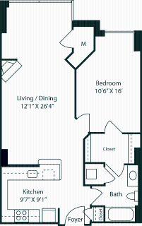 1 bedroom in Radnor-Ft Myer Heights