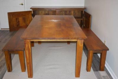 Crate and Barrel Farmer's Table, Benches, and Buffet