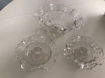 Vintage Glass Fenton Candy Dish & Taper Candle Holder 3pc set
