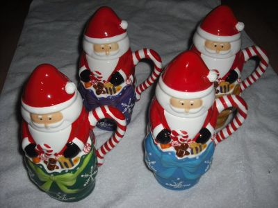 Set of 4 Handpainted Ceramic Santa Mugs by Temp-tations