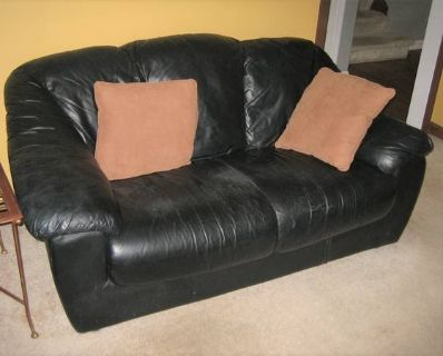 Black Leather Loveseat and Sofa