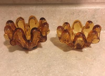 Vintage Amber Nesting Candy/Nut Dishes