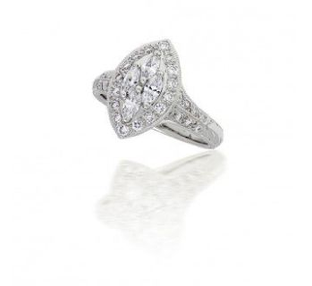 Illusion Set Marquise Style Diamond Ring in 18k White Gold (0.90ct. tw.)