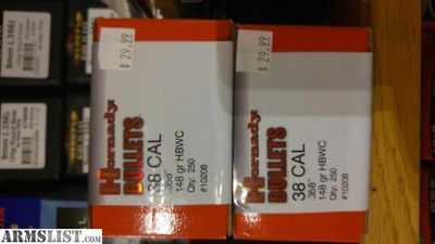 For Sale/Trade: Hornaday bullets 38 cal 148 gr HBWC