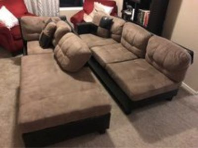 Brown/black sectional couch
