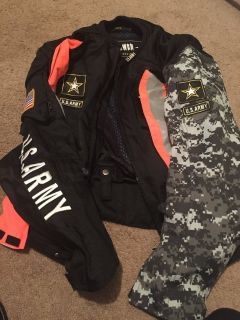 Motorcycle Army Jacket with Reflectors