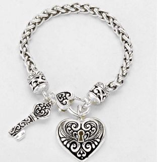 Brand New Womens Heart and Lock Braided Bracelet in Silver
