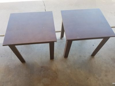 2 brown wood end tables