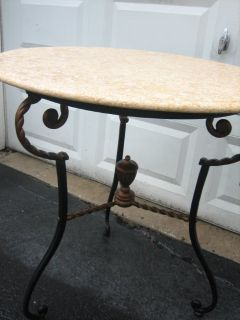 round marble and iron decorative table