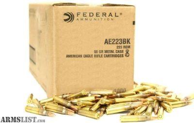 For Sale: FEDERAL AE223BK 55GR AMMO (1000RDS)