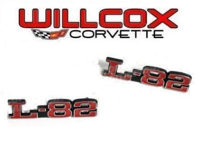 Sell 73-79 CORVETTE HOOD EMBLEMS - L-82 - PAIR NEW! L82 front emblem set motorcycle in Jeffersonville, Indiana, US, for US $24.74