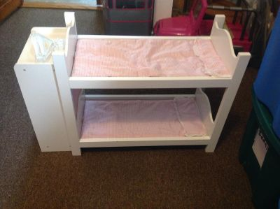 18 inch doll wooden bunk beds with closet on the end. See next picture