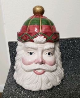 Vintage Christmas Santa Claus Head Ceramic Cookie Jar