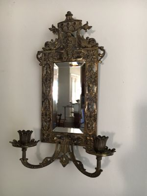 B & H Mirrored Candle Sconce