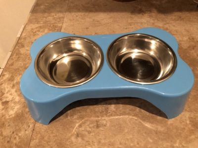 Pet food dish with removable bowls