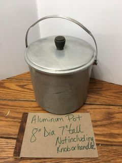 Antique aluminum milk pail bucket lid fits very snugly for carrying Pickup Marquette Hts only Unable to meet