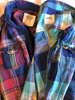 2 Small Plaid Shirts Hollister and Abercrombie