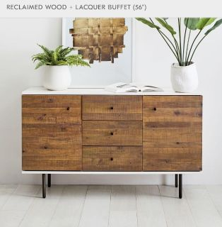 """West Elm RECLAIMED WOOD + LACQUER BUFFET (56"""")"""