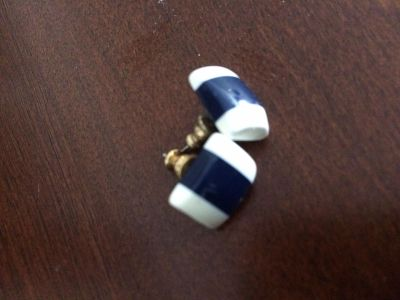 Blue and white stud earrings