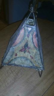 Metal tea light holder, very nice, 18 inches tall by 9 inches at the widest point along bottom
