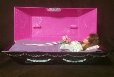 Vintage Totally Hair Burnette Barbie In a Cutom-made Coffin Case.
