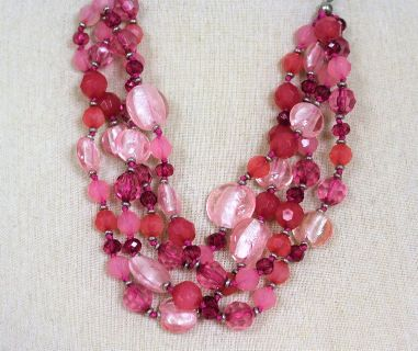 """NWOT Pink Red Coral 24"""" Fuchsia Bead Strand Necklace Statement Chain"""