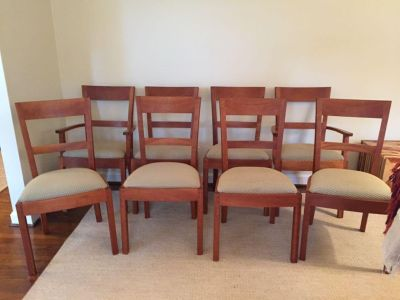 Set of 8: custom,signed cherry dining chairs