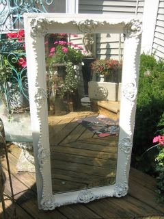 BEAUTIFUL TALL white shabby chic vintage mirror