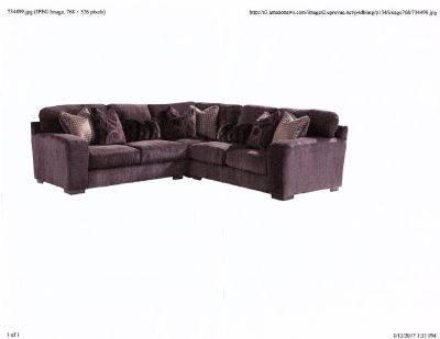 Jackson Plum Gel Foam Steel Tech 3 Piece Sectional Sofa With Pillows