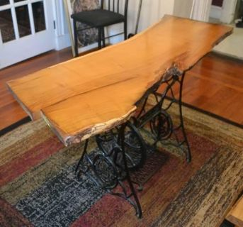 Mulberry desk - hand-made, live-edge slab with cast iron base