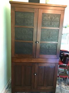 Antique Walnut China Cabinet c: early to mid 1900 s